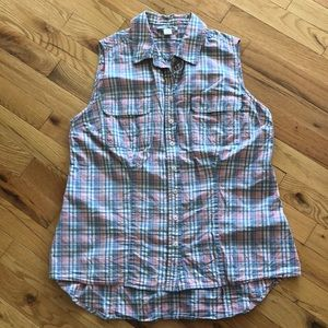 Plaid sleeveless button-up top - size L (fits M)